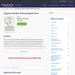 Cognitive Models of Psychological Time
