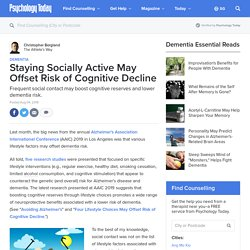 Staying Socially Active May OffsetRisk of Cognitive Decline