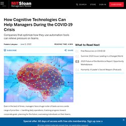 How Cognitive Technologies Can Help Managers During the COVID-19 Crisis
