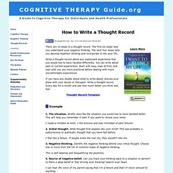 Cognitive Therapy, CBT Thought Records Template and Examples