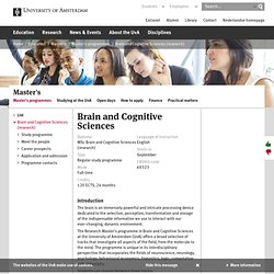 Brain and Cognitive Sciences - University of Amsterdam