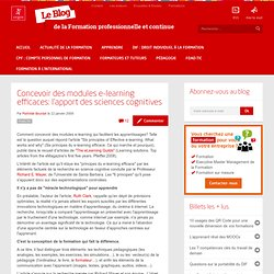 Concevoir des modules e-learning efficaces: l'apport des sciences cognitives