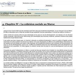 La cohésion sociale en France et au Maroc - Othman GAGA