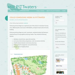 Could cohousing work in Pittwater