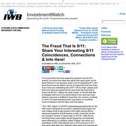 The Fraud That Is 9/11: Share Your Interesting 9/11 Coincidences, Connections & Info Here! « InvestmentWatch