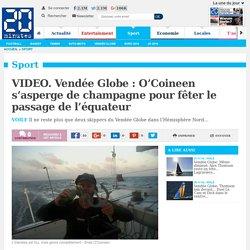 VIDEO. Vendée Globe : O'Coineen s'asperge de champagne pour fêter le passage de l'équateur