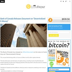 "The CoinFront Bank of Canada Releases Document on ""Decentralized E-Money"""