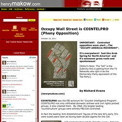 Occupy Wall Street is COINTELPRO (Phony Opposition)