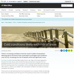 Cold conditions likely with risk of snow - Met Office
