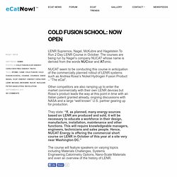 Cold Fusion School: Now Open | eCat Now! – Energy Catalyzer News