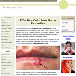 Cold Sore Home Remedies To Cure Fever Blisters