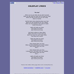 COLDPLAY LYRICS - Fix You