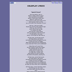 COLDPLAY LYRICS - Speed Of Sound
