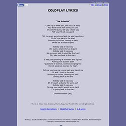COLDPLAY LYRICS - The Scientist