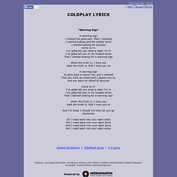 COLDPLAY LYRICS - Warning Sign