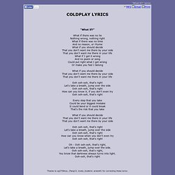 COLDPLAY LYRICS - What If?
