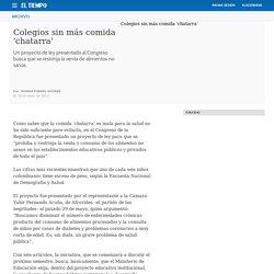 Colegios sin comida 'chatarra' - Archivo Digital de Noticias de Colombia y el Mundo desde 1.990 - eltiempo.com