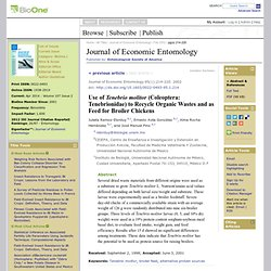 JOURNAL OF ECONOMIC ENTOMOLOGY - 2002 - Use of Tenebrio molitor (Coleoptera: Tenebrionidae) to Recycle Organic Wastes and as Fee