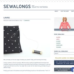 Anise Sew-along: Lining