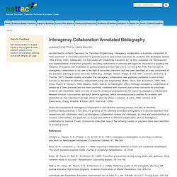 Interagency Collaboration Annotated Bibliography