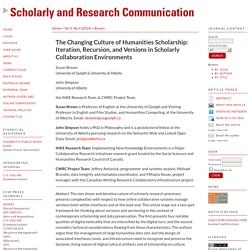 The Changing Culture of Humanities Scholarship: Iteration, Recursion, and Versions in Scholarly Collaboration Environments
