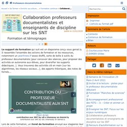 Collaboration professeurs documentalistes et enseignants de discipline sur les SNT - Page 3/3 - Doc'Poitiers - Le site des professeurs documentalistes