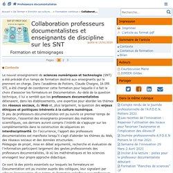 Collaboration professeurs documentalistes et enseignants de discipline sur les SNT - Doc'Poitiers - Le site des professeurs documentalistes