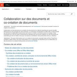 Collaboration sur des documents et co-création de documents - Support Office