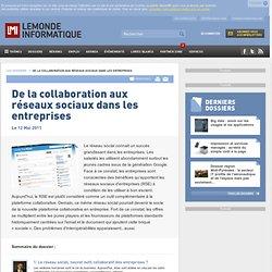 De la collaboration aux réseaux sociaux dans les entreprises - Progiciels