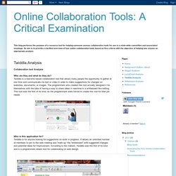 Online Collaboration Tools: A Critical Examination: Twiddla Analysis