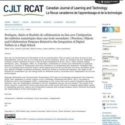 Pratiques, objets et finalités de collaboration en lien avec l'intégration des tablettes numériques dans une école secondaire