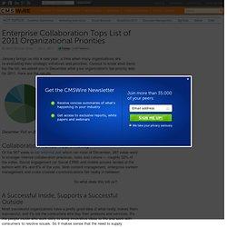 Enterprise Collaboration Tops List of 2011 Organizational Priorities