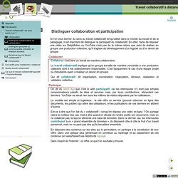 Distinguer collaboration et participation