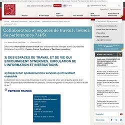 DES ESPACES DE TRAVAIL ET DE VIE QUI ENCOURAGENT SYNERGIES, CIRCULATION DE L'INFORMATION ET INTERACTIONS