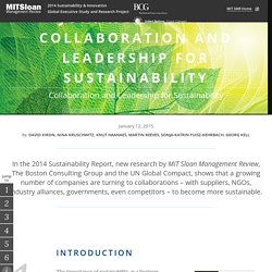 Joining Forces: Collaboration and Leadership for Sustainability
