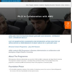 Ph.D In Collaboration with AMU