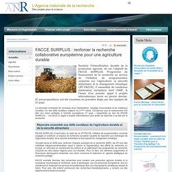 ANR 04/05/15 FACCE SURPLUS : renforcer la recherche collaborative européenne pour une agriculture durable