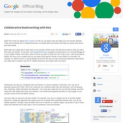 Collaborative bookmarking with lists