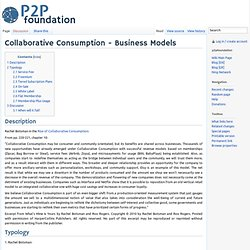 Collaborative Consumption - Business Models
