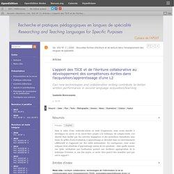L'apport des TICE et de l'écriture collaborative au développement des compétences écrites dans l'acquisition/apprentissage d'une L2