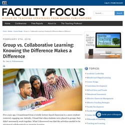 Group vs. Collaborative Learning: Knowing the Difference Makes a Difference