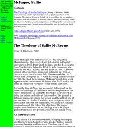 Boston Collaborative Encyclopedia of Western Theology: Sallie McFague