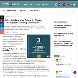 Building A Collaborative Culture for Change: Establishing the Leadership Environment