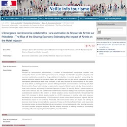 L'émergence de l'économie collaborative : une estimation de l'impact de Airbnb sur l'hôtellerie - The Rise of the Sharing Economy:Estimating the Impact of Airbnb on the Hotel Industry