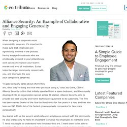 Alliance Security: An Example of Collaborative and Engaging Generosity