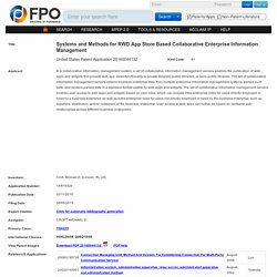 Systems and Methods for RWD App Store Based Collaborative Enterprise Information Management - CROFT MICHAEL D.