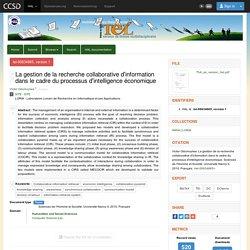 La gestion de la recherche collaborative d'information dans le cadre du processus d'intelligence économique