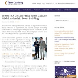 Promote A Collaborative Work Culture With Leadership Team Building