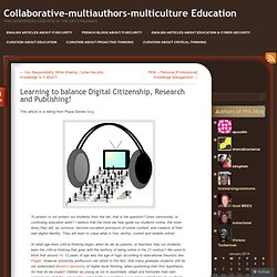 Learning to balance Digital Citizenship, Research and Publishing!