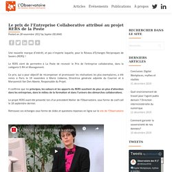 Le prix de l'Entreprise Collaborative attribué au projet RERS de la Poste